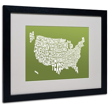 Trademark Fine Art Michael Tompsett 'OLIVE-USA States Text Map' Matted Black Frame 16x20 Inches