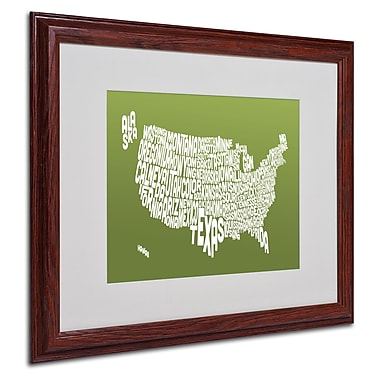 Michael Tompsett 'OLIVE-USA States Text Map' Matted Framed - 16x20 Inches - Wood Frame