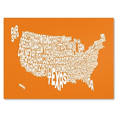 Trademark Fine Art Michael Tompsett 'ORANGE-USA States Text Map' Canvas Art 22x32 Inches