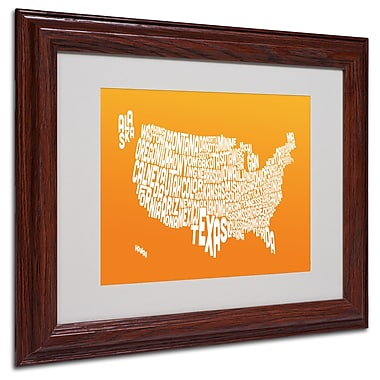 Michael Tompsett 'ORANGE-USA States Text Map' Matted Framed - 11x14 Inches - Wood Frame