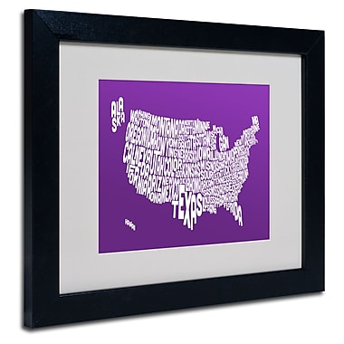 Trademark Fine Art Michael Tompsett 'PURPLE-USA States Text Map' Matted Black Frame 11x14 Inches