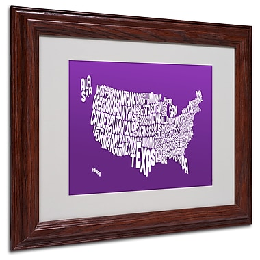 Michael Tompsett 'PURPLE-USA States Text Map' Matted Framed - 11x14 Inches - Wood Frame