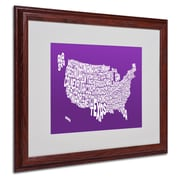 Michael Tompsett 'PURPLE-USA States Text Map' Matted Framed - 16x20 Inches - Wood Frame