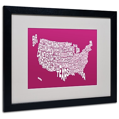 Trademark Fine Art Michael Tompsett 'RASPBERRY-USA States Text Map' Black Frame 16x20 Inches