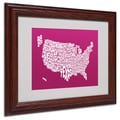 Michael Tompsett 'RASPBERRY-USA States Text Map' Framed - 11x14 Inches - Wood Frame