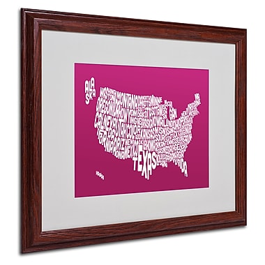 Michael Tompsett 'RASPBERRY-USA States Text Map' Framed - 16x20 Inches - Wood Frame