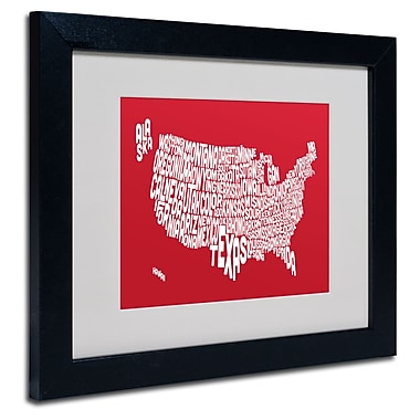 Trademark Fine Art Michael Tompsett 'RED-USA States Text Map' Matted Art Black Frame 11x14 Inches