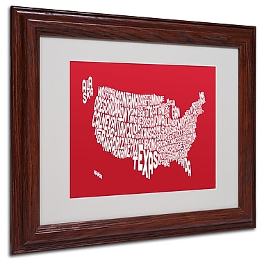 Michael Tompsett 'RED-USA States Text Map' Matted Framed Art - 11x14 Inches - Wood Frame
