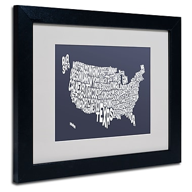 Trademark Fine Art Michael Tompsett 'SLATE-USA States Text Map' Matted Black Frame 11x14 Inches