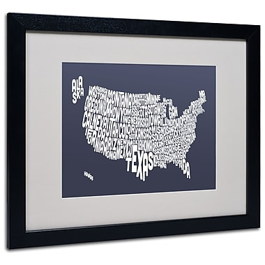 Trademark Fine Art Michael Tompsett 'SLATE-USA States Text Map' Matted Black Frame 16x20 Inches