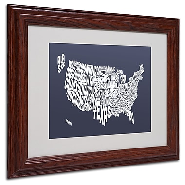 Michael Tompsett 'SLATE-USA States Text Map' Matted Framed - 11x14 Inches - Wood Frame