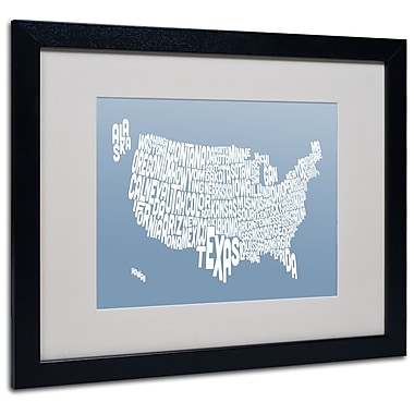 Trademark Fine Art Michael Tompsett 'STEEL-USA States Text Map' Matted Black Frame 16x20 Inches