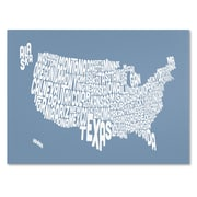 Trademark Fine Art Michael Tompsett 'STEEL-USA States Text Map' Canvas Art 14x19 Inches