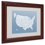 Michael Tompsett 'STEEL-USA States Text Map' Matted Framed - 11x14 Inches - Wood Frame
