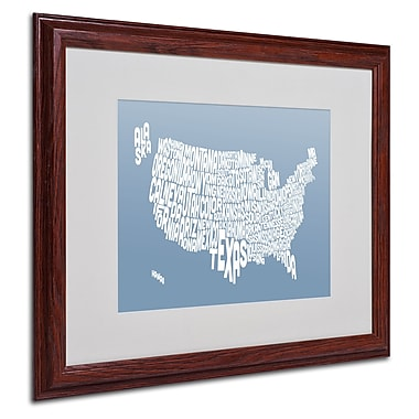 Michael Tompsett 'STEEL-USA States Text Map' Matted Framed - 16x20 Inches - Wood Frame