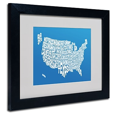 Trademark Fine Art Michael Tompsett 'SUMMER-USA States Text Map' Matted Black Frame 11x14 Inches
