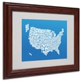 Michael Tompsett 'SUMMER-USA States Text Map' Matted Framed - 11x14 Inches - Wood Frame
