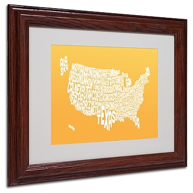 Michael Tompsett 'SUNSET-USA States Text Map' Matted Framed - 11x14 Inches - Wood Frame