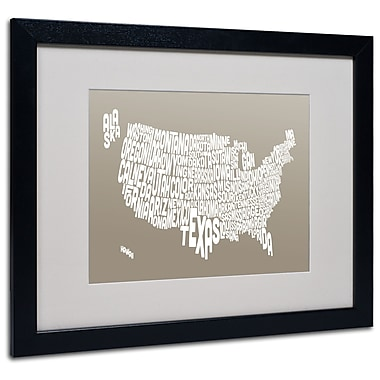 Trademark Fine Art Michael Tompsett 'TAUPE-USA States Text Map' Matted Black Frame 16x20 Inches