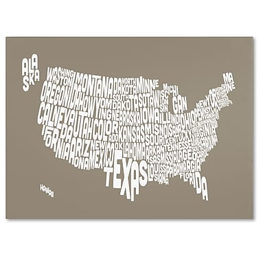 Trademark Fine Art Michael Tompsett 'TAUPE-USA States Text Map' Canvas Art 22x32 Inches