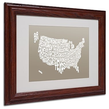 Michael Tompsett 'TAUPE-USA States Text Map' Matted Framed - 11x14 Inches - Wood Frame