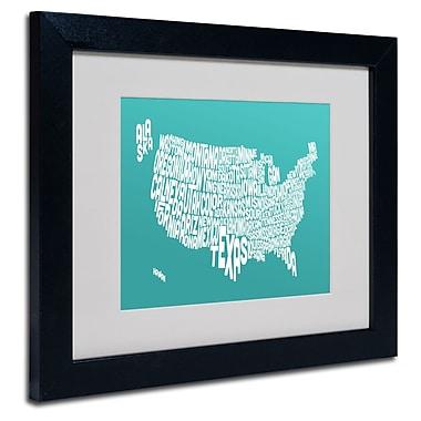 Trademark Fine Art Michael Tompsett 'TURQOISE-USA States Text Map' Black Frame 11x14 Inches