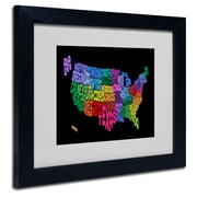 Trademark Fine Art Michael Tompsett 'USA States Txt Map' Matted Art Black Frame 11x14 Inches