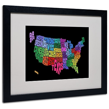 Trademark Fine Art Michael Tompsett 'USA States Txt Map' Matted Art Black Frame 16x20 Inches