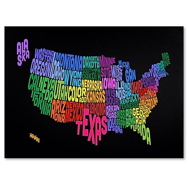 Trademark Fine Art Michael Tompsett 'USA States Txt Map' Canvas Art 16x24 Inches