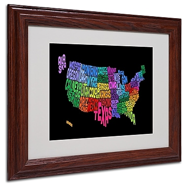 Michael Tompsett 'USA States Txt Map' Matted Framed Art - 11x14 Inches - Wood Frame