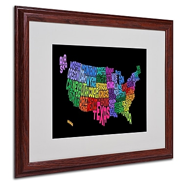 Michael Tompsett 'USA States Txt Map' Matted Framed Art - 16x20 Inches - Wood Frame