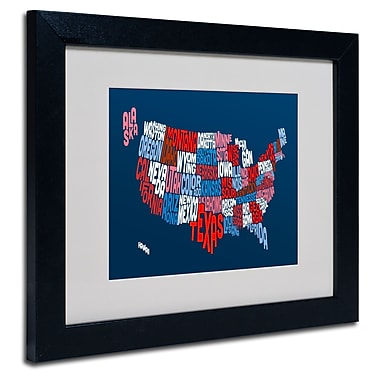 Trademark Fine Art Michael Tompsett 'USA States Txt Map 2' Matted Art Black Frame 11x14 Inches