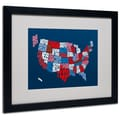 Trademark Fine Art Michael Tompsett 'USA States Txt Map 2' Matted Art Black Frame 16x20 Inches