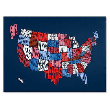 Trademark Fine Art Michael Tompsett 'USA States Txt Map 2' Canvas Art 16x24 Inches