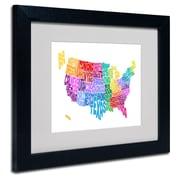 Trademark Fine Art Michael Tompsett 'USA States Txt Map 3' Matted Art Black Frame 11x14 Inches