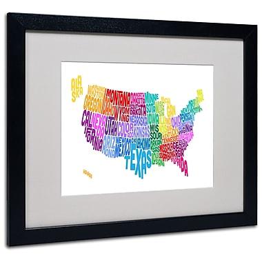 Trademark Fine Art Michael Tompsett 'USA States Txt Map 3' Matted Art Black Frame 16x20 Inches