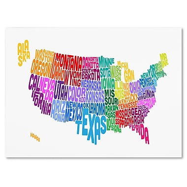 Trademark Fine Art Michael Tompsett 'USA States Txt Map 3' Canvas Art 14x19 Inches