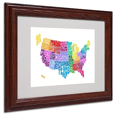 Michael Tompsett 'USA States Txt Map 3' Matted Framed Art - 16x20 Inches - Wood Frame