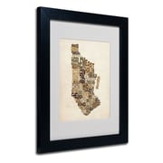 Trademark Fine Art Michael Tompsett 'Manhattan Text Map' Matted Art Black Frame 11x14 Inches