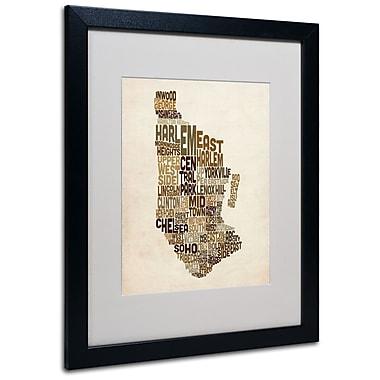 Trademark Fine Art Michael Tompsett 'Manhattan Text Map' Matted Art Black Frame 16x20 Inches