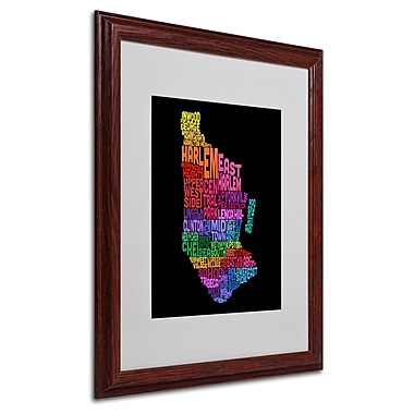 Michael Tompsett 'Manhattan Text Map 2' Matted Framed Art - 16x20 Inches - Wood Frame