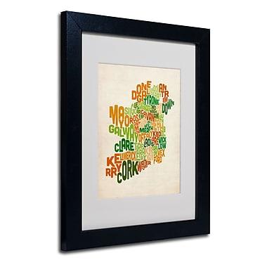 Trademark Fine Art Michael Tompsett 'Ireland Text Map' Matted Art Black Frame 11x14 Inches