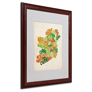 Michael Tompsett 'Ireland Text Map' Matted Framed Art - 16x20 Inches - Wood Frame