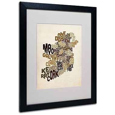 Trademark Fine Art Michael Tompsett 'Ireland Text Map 2' Matted Art Black Frame 16x20 Inches