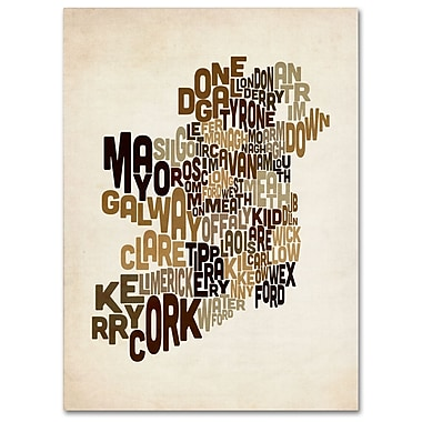 Trademark Fine Art Michael Tompsett 'Ireland Text Map 2' Canvas Art 16x24 Inches