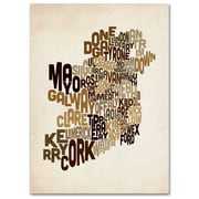 Trademark Fine Art Michael Tompsett 'Ireland Text Map 2' Canvas Art 14x19 Inches