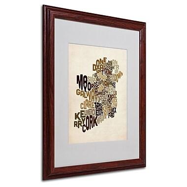 Michael Tompsett 'Ireland Text Map 2' Matted Framed Art - 16x20 Inches - Wood Frame
