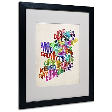 Trademark Fine Art Michael Tompsett 'Ireland Text Map 3' Matted Art Black Frame 16x20 Inches