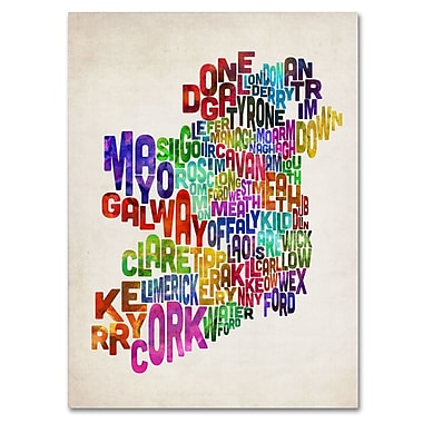 Trademark Fine Art Michael Tompsett 'Ireland Text Map 3' Canvas Art 16x24 Inches