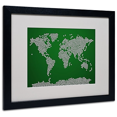 Trademark Fine Art Michael Tompsett 'Soccer Balls World Map' Matted Art Black Frame 16x20 Inches